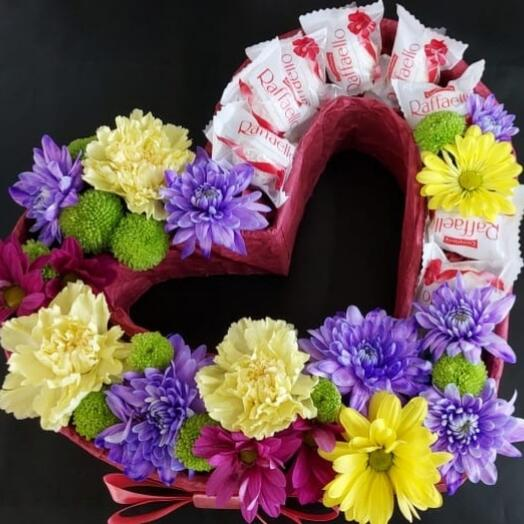 """Цветы в коробке """"с любовью"""""""