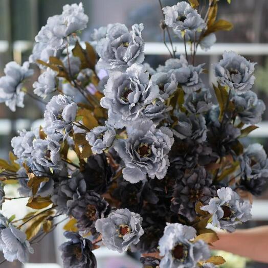 Цветок синий кустовой искуственный