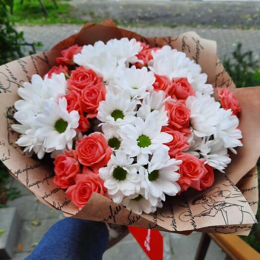 Букет с кустовой розой барбадос «Дележанс»