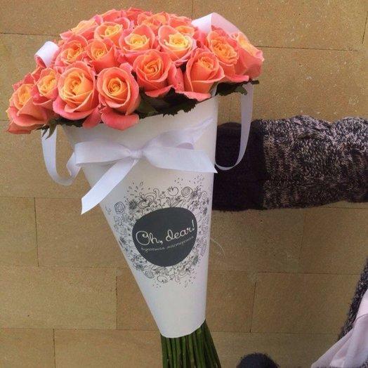 41 оранжевая роза в конусе: букеты цветов на заказ Flowwow