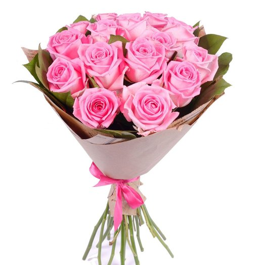15 pink roses in Kraft