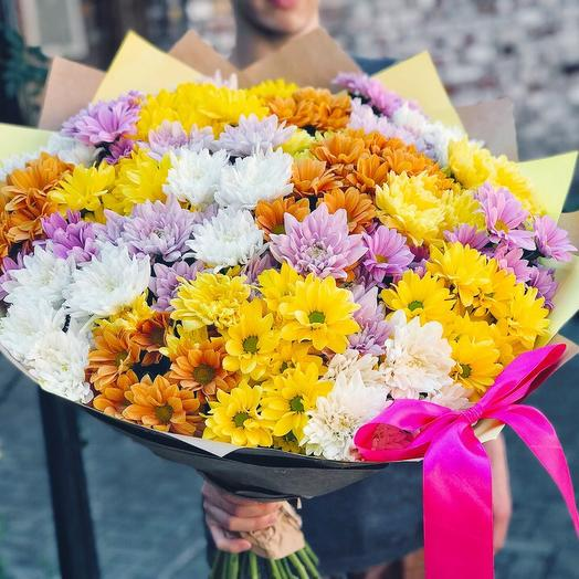 25 кустовых хризантем: букеты цветов на заказ Flowwow