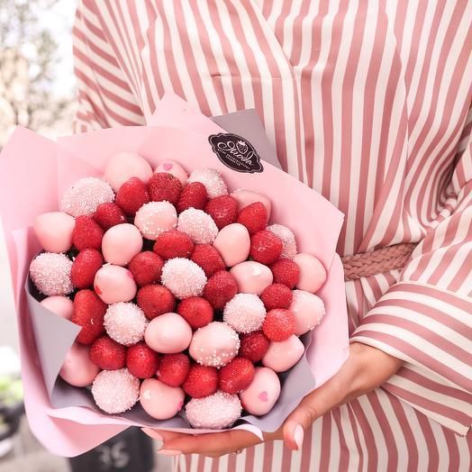 Букет из клубники в розовом шоколаде: букеты цветов на заказ Flowwow