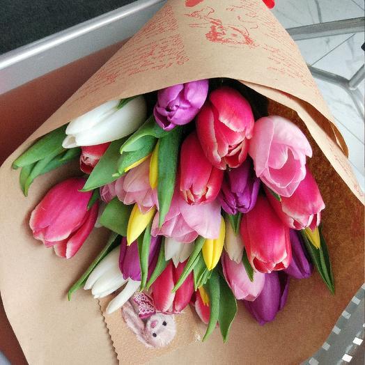 25 тюльпанов микс в букете: букеты цветов на заказ Flowwow