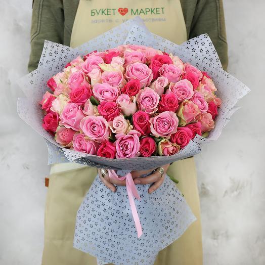 Букет из 75 разноцветных кенийских роз: букеты цветов на заказ Flowwow
