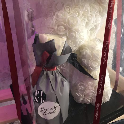 Мишка с малиновым вареньем «Не болей!»: букеты цветов на заказ Flowwow