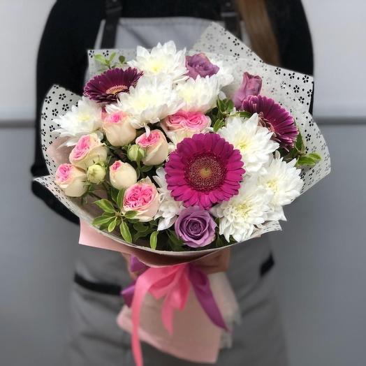 Сборный букет с розами и герберами: букеты цветов на заказ Flowwow