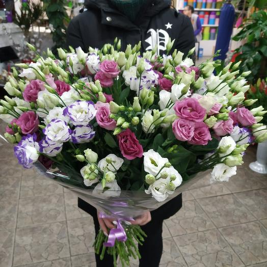 Шикарный букет из 51 Эустомы микс: букеты цветов на заказ Flowwow