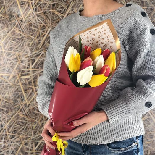 Яркий микс (11 тюльпанов)