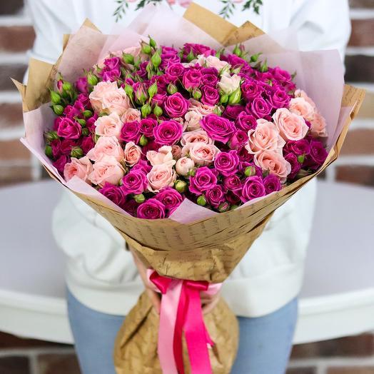 Букет из 25 веточек кустовой розы (микс). N727