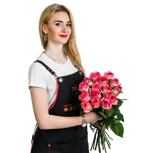 15 розовых с белым роз: букеты цветов на заказ Flowwow