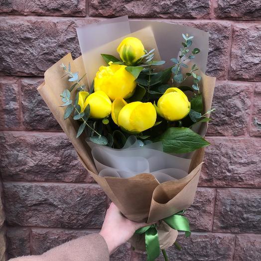 Моно желтые пионы: букеты цветов на заказ Flowwow