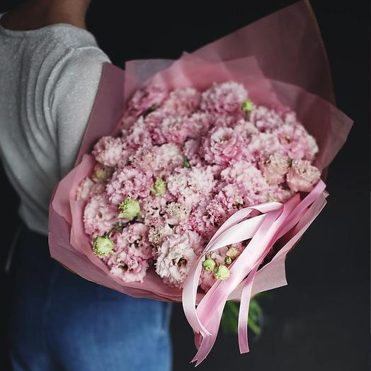 Большой букет из розовой эустомы, 29 шт
