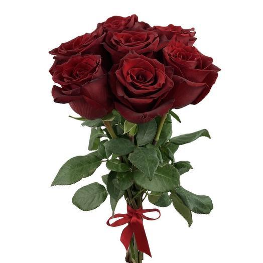 7 красных роз Эквадор 60 см