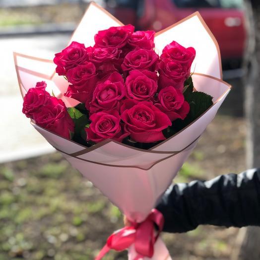 Букет из 15 малиновых роз