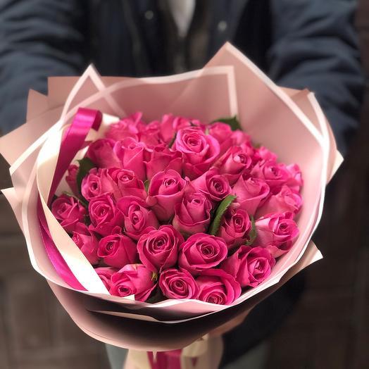 51 Розовая роза 40см