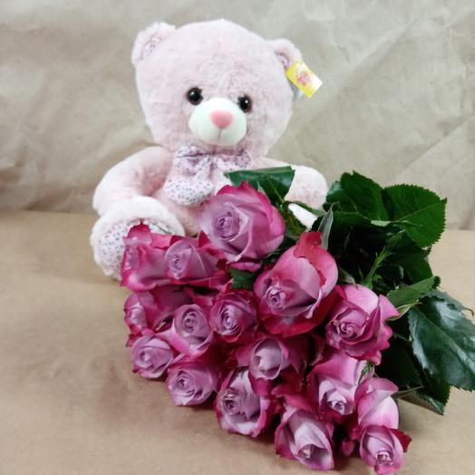 15 роз + мишка