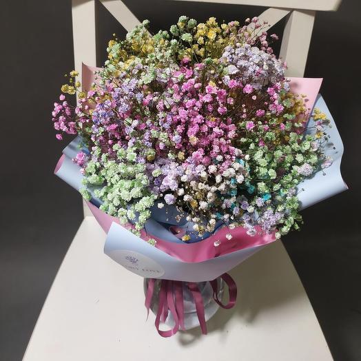 Цветение сакуры, радужная гипсофила (ваза в подарок, см. условия акции)