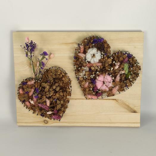 Панно   2 сердца   с колбой для цветка