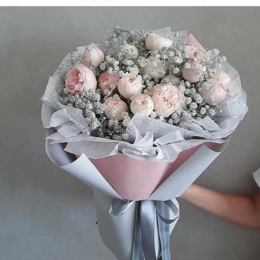 Bouquet with peony roses