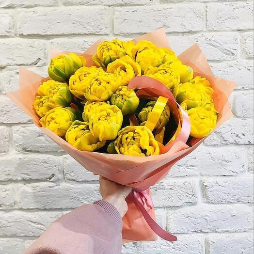 """Букет  """"25 Тюльпанов Пионовидных """" Желтых"""