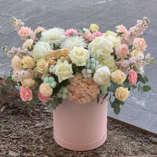 Цветы в коробке ,,Сахарный Зефир