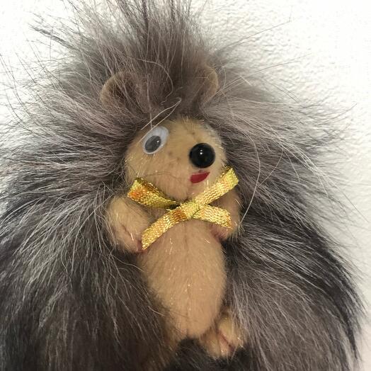Ёжик - Игрушка из натурального меха ручной работы