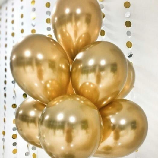 Шары хром золотые 7 штук