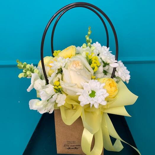 Flowers in a craft bag