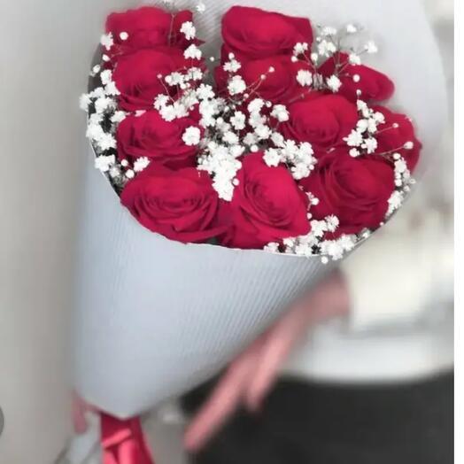 Букет  из 11 бордовых роз с белой гипсофилой