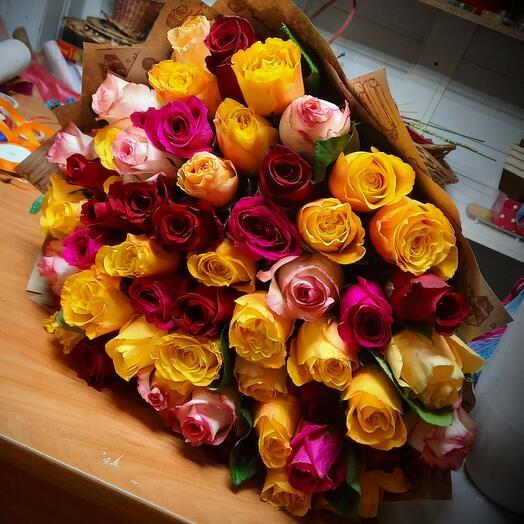 Пламя из 51 розы 60 см