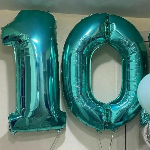 Цифра 10 фольгированная с гелием (102 см)