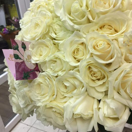 Букет из 37 белых голландских роз 70 см: букеты цветов на заказ Flowwow