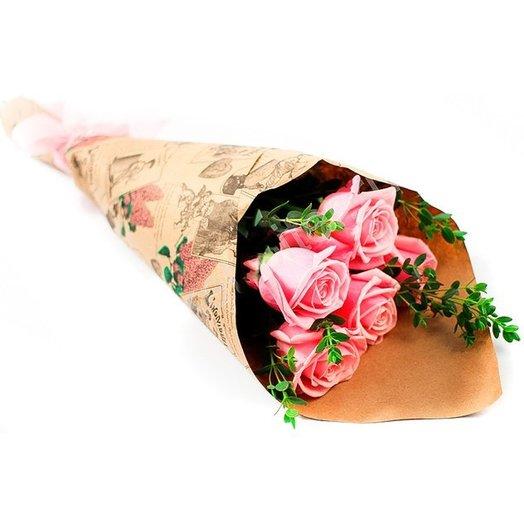 5 розовых роз: букеты цветов на заказ Flowwow