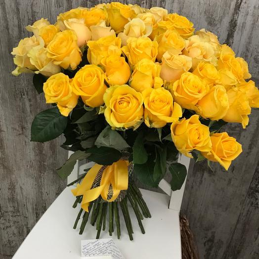 Букет из 55 желтых роз 60 см: букеты цветов на заказ Flowwow