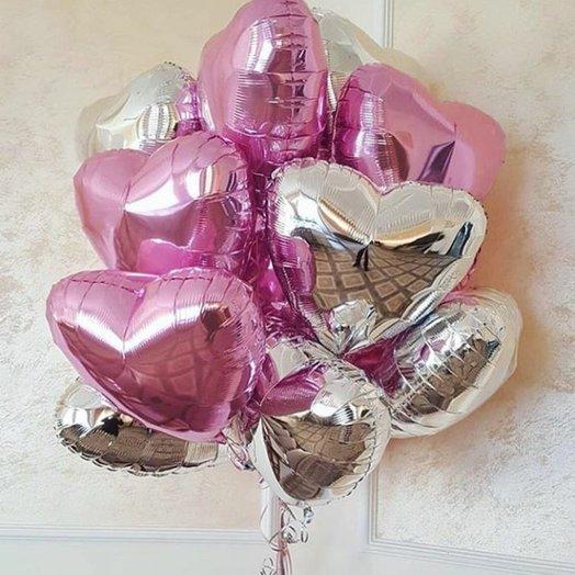 Микс фольгированных сердец - 13 штук: букеты цветов на заказ Flowwow