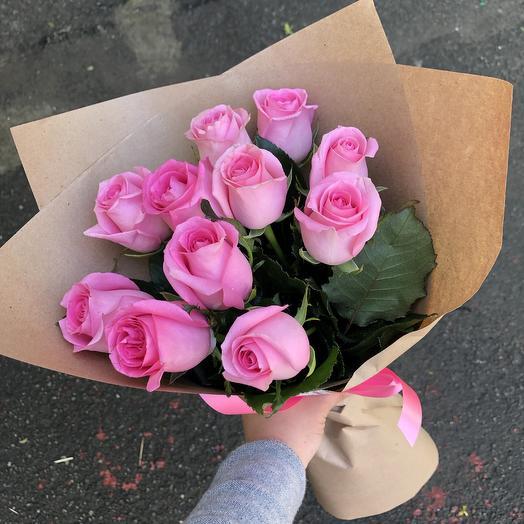 Цветов, букеты роз из 11 розовых