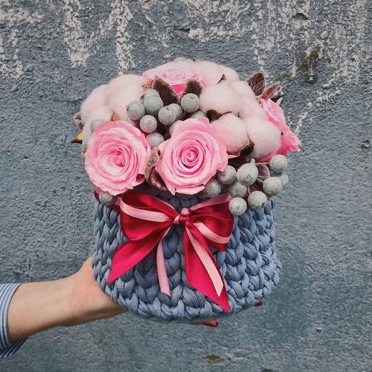 """КАШПО СО СТАБИЛИЗИРОВАННЫМИ РОЗАМИ """"ЧУДЕСНОЕ МГНОВЕНИЕ"""": букеты цветов на заказ Flowwow"""