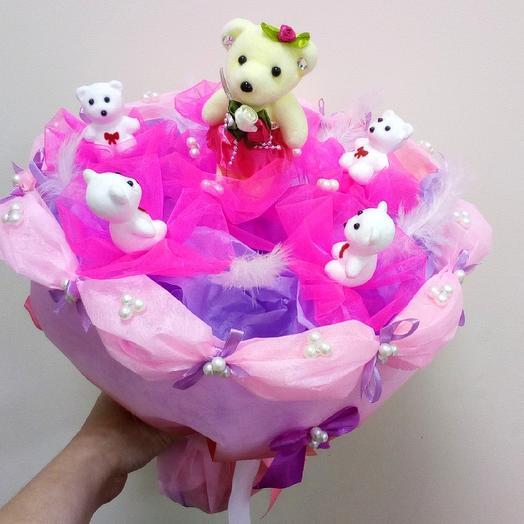"""Букет """"Мишки в Малиновке"""": букеты цветов на заказ Flowwow"""