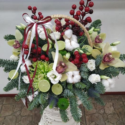 """Зимняя корзина с орхидеями """"Чудо в декабре"""": букеты цветов на заказ Flowwow"""