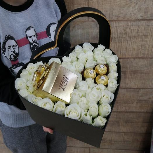 Коробка сердце для самой любимой: букеты цветов на заказ Flowwow