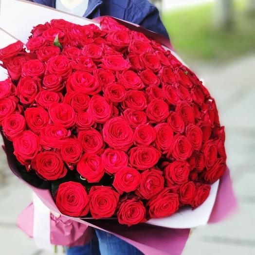 101 красная роза (80см)