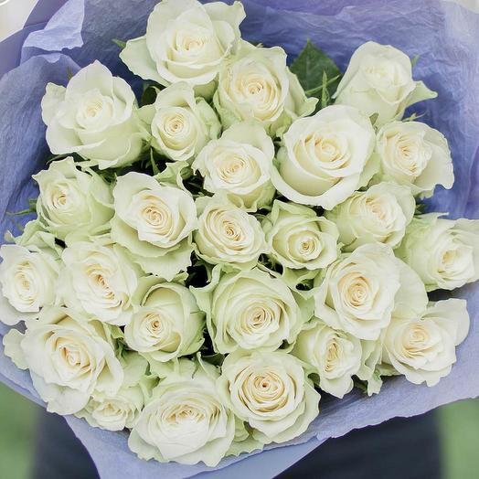 Букет из 25 белых роз (Кения) 40 см Standart