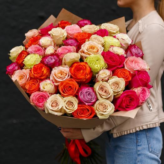 Букет 51 Эквадорская роза Микс