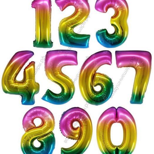 Воздушный шар «Цифра радуга » 34  /86 см