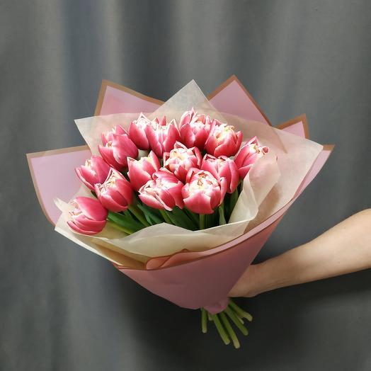 """Букет""""15 кремово-розовых тюльпанов"""""""