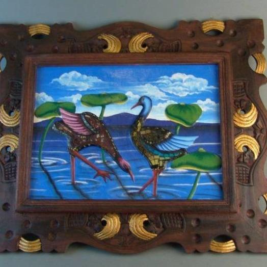 Картина в деревянной раме Птицы 48*58 см