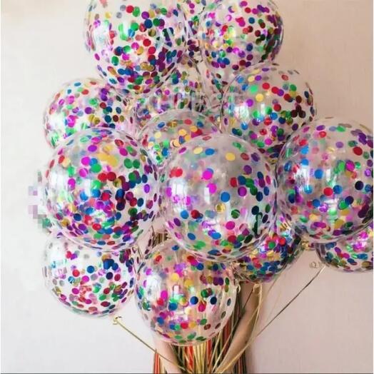 Связка из 15 прозрачных с конфетти шаров