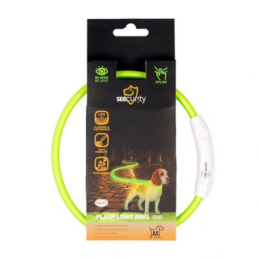 Светящийся ошейник для собак нейлоновый зеленый 45 см