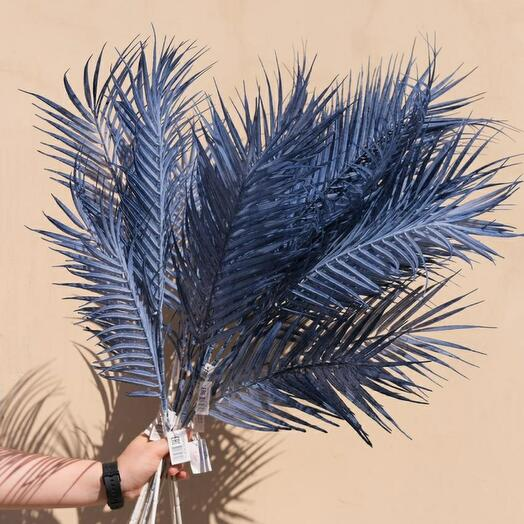Искуственный лист пальмы синий